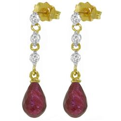 ALARRI 6.9 Carat 14K Solid Gold Prance Ruby Diamond Earrings