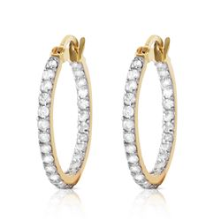 ALARRI 0.75 CTW 14K Solid Gold Hoop Earrings Natural Diamond