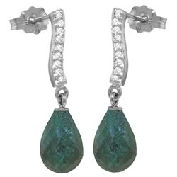 ALARRI 6.88 Carat 14K Solid White Gold Behind The Scenes Emerald Diamond Earrings
