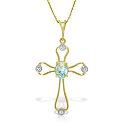 ALARRI 0.57 Carat 14K Solid Gold Faith Aquamarine Diamond Necklace