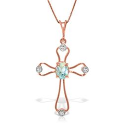 ALARRI 14K Solid Rose Gold Cross Necklace w/ Natural Diamonds & Aquamarine