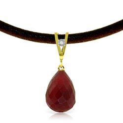 ALARRI 15.51 Carat 14K Solid Gold Leather Necklace Diamond Ruby