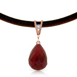 ALARRI 14K Solid Rose Gold & Leather Necklace w/ Diamond & Ruby