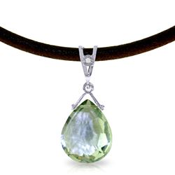 ALARRI 6.51 Carat 14K Solid White Gold Leather Necklace Diamond Green Amethyst
