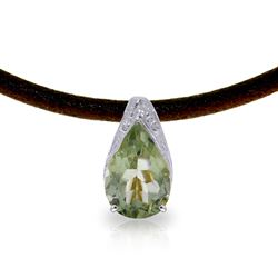 ALARRI 6 Carat 14K Solid White Gold Leather Necklace Green Amethyst