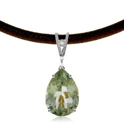ALARRI 6.01 Carat 14K Solid White Gold Light Moisture Green Amethyst Diamond Necklace