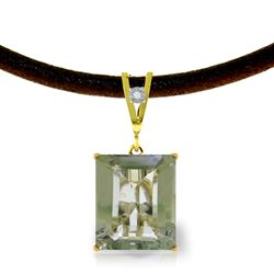 ALARRI 6.51 CTW 14K Solid Gold Solitude Green Amethyst Diamond Necklace