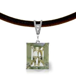 ALARRI 6.51 CTW 14K Solid White Gold Mind Of Lightness Green Amethyst Diamond Necklace