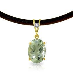 ALARRI 7.56 Carat 14K Solid Gold Gratitude Green Amethyst Diamond Necklace