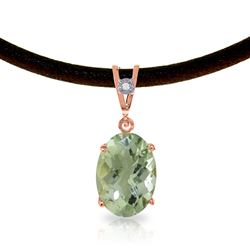 ALARRI 14K Solid Rose Gold & Leather Necklace w/ Diamond & Green Amethyst