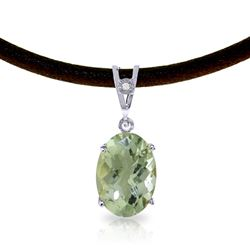ALARRI 7.56 Carat 14K Solid White Gold Willow Wind Green Amethyst Diamond Necklace