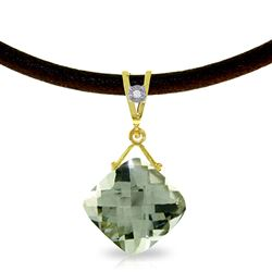 ALARRI 8.76 Carat 14K Solid Gold Attraction Green Amethyst Diamond Necklace