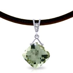 ALARRI 8.76 Carat 14K Solid White Gold Little Women Green Amethyst Diamond Necklace