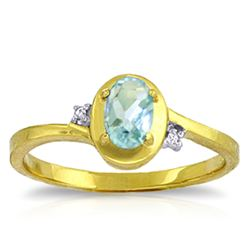 ALARRI 0.51 Carat 14K Solid Gold Rings Diamond Aquamarine