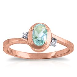 ALARRI 0.51 CTW 14K Solid Rose Gold Rings Diamond Aquamarine