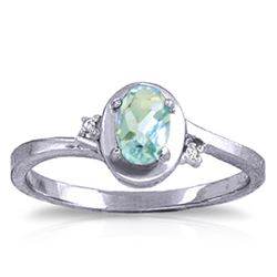 ALARRI 0.51 Carat 14K Solid White Gold Rings Diamond Aquamarine