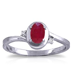 ALARRI 0.51 CTW 14K Solid White Gold Boy Meets Girl Ruby Diamond Ring