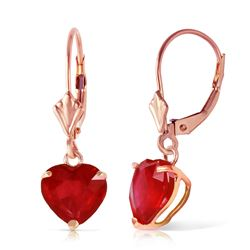 ALARRI 14K Solid Rose Gold Leverback Earrings w/ Natural Rubies