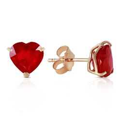 ALARRI 2.9 Carat 14K Solid Gold Stud Earrings Natural Heart Ruby