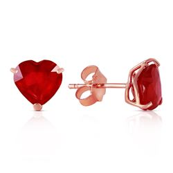 ALARRI 14K Solid Rose Gold Stud Earrings w/ Natural Heart Rubies