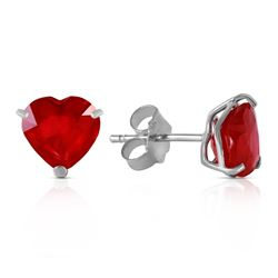 ALARRI 2.9 CTW 14K Solid White Gold Stud Earrings Natural Heart Ruby