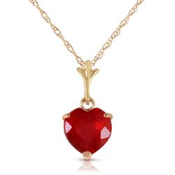 ALARRI 1.45 Carat 14K Solid Gold Necklace Natural Heart Ruby