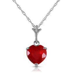 ALARRI 1.45 Carat 14K Solid White Gold Necklace Natural Heart Ruby