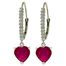 ALARRI 3.2 Carat 14K Solid White Gold Leverback Earrings Natural Diamond Ruby