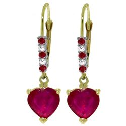 ALARRI 2.98 CTW 14K Solid Gold Merlot Ruby Diamond Earrings