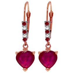 ALARRI 14K Solid Rose Gold Leverback Earrings w/ Natural Diamonds & Rubies