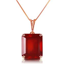 ALARRI 14K Solid Rose Gold Necklace w/ Octagon Natural Ruby