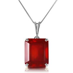 ALARRI 6.5 Carat 14K Solid White Gold Necklace Octagon Natural Ruby