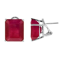 ALARRI 15 CTW 14K Solid White Gold French Clips Earrings Natural Rubies
