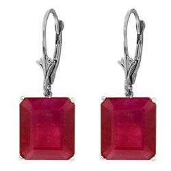 ALARRI 15 Carat 14K Solid White Gold Leverback Earrings Ruby