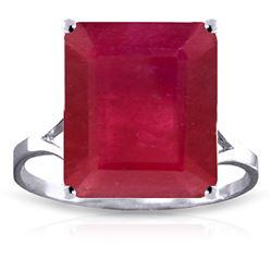 ALARRI 7.5 Carat 14K Solid White Gold Ring Natural Octagon Ruby