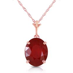 ALARRI 3.5 CTW 14K Solid Rose Gold Necklace Natural Oval Ruby