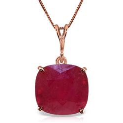 ALARRI 6.75 CTW 14K Solid Rose Gold Necklace Cushion Shape Ruby