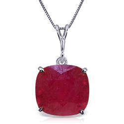 ALARRI 6.75 Carat 14K Solid White Gold Necklace Cushion Shape Ruby