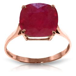 ALARRI 6.75 Carat 14K Solid Rose Gold Ring Natural Cushion Shape Ruby