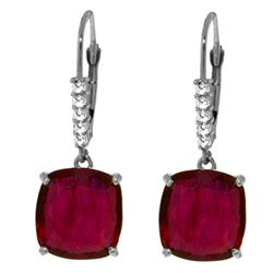 ALARRI 13.65 Carat 14K Solid White Gold Waiting Ruby Diamond Earrings