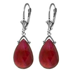 ALARRI 16 Carat 14K Solid White Gold Leverback Earrings Briolette Ruby