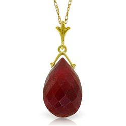 ALARRI 8 Carat 14K Solid Gold Necklace Briolette Ruby