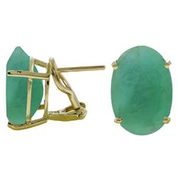 ALARRI 13 CTW 14K Solid Gold French Clips Earrings Natural Emerald