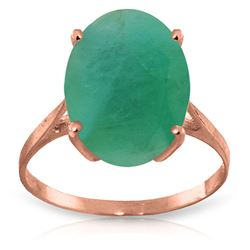 ALARRI 6.5 Carat 14K Solid Rose Gold Ring Natural Oval Emerald