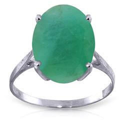 ALARRI 6.5 Carat 14K Solid White Gold Ring Natural Oval Emerald