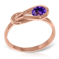 ALARRI 14K Solid Rose Gold Ring w/ Natural Purple Amethyst