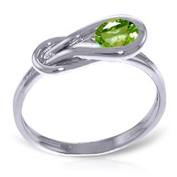 ALARRI 0.65 CTW 14K Solid White Gold Pray For Love Peridot Ring