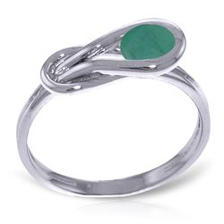 ALARRI 0.65 CTW 14K Solid White Gold Ring Natural Emerald