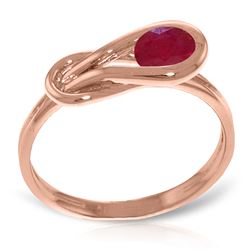 ALARRI 14K Solid Rose Gold Ring w/ Natural Ruby