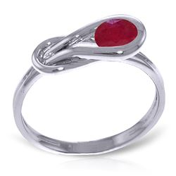 ALARRI 0.65 Carat 14K Solid White Gold Modigliani Ruby Ring